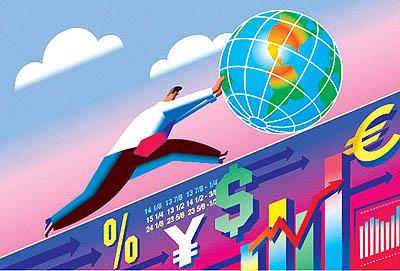 Man Pushing Globe Up Financial Slope